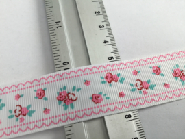Roosjes met rose rand 26mm 1mtr.