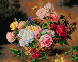 Voorbedrukt stramien Mand met Rozen - ORCHIDEA 40 x 50