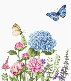 SUMMER FLOWERS AND BUTTERFLIES (weefstof)