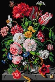 Voorbedrukt stramien  After JAN DAVIDSZOON - FLOWERS IN A GLASS VASE - ORCHIDEA 40 x 60
