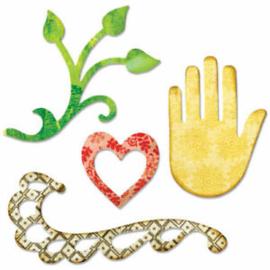 658472 Sizzix Sizzlits Singles Die Flourish, Hand, Heart & Vine
