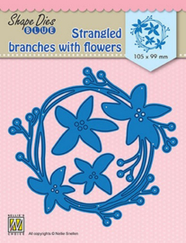 Nellie Snellen Shape Die BLUE Strangled branches with flowers