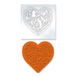 Tonic Studios Die & Stamp set - Rococo floral heart