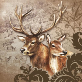servetten 5st - Herten paar bruin 33x33cm