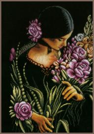 Romance - Vrouw met Bloemen (zwarte aida)