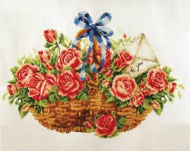 VOORBEDRUKT BORDUURPAKKET BASKET OF ROSES - NEEDLEART WORLD
