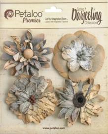 Petaloo • Wild blossom soft grey - Papieren bloemen  (4 stuks)