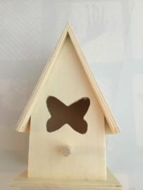Vogelhuisje hout 11 x 9 cm vlinder/zonder touw