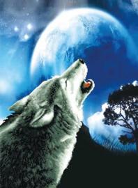 VOORBEDRUKT BORDUURPAKKET HOWLING WOLF - NEEDLEART WORLD