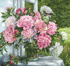 PEONIES BY THE WINDOW (petit point)