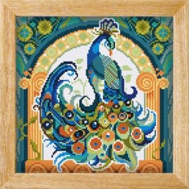 Diamond painting MANDALA Vogels PAUW (Blauw)