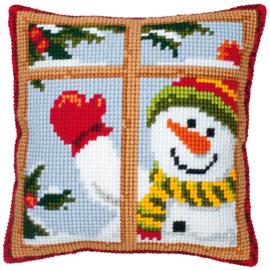 Kruissteek kussen Happy Snowman 40 x 40 cm (voorbedrukt)