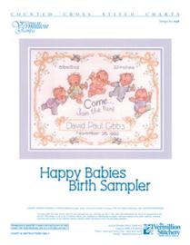 BORDUURPATROON HAPPY BABIES BIRTH SAMPLER - VERMILLION STITCHERY