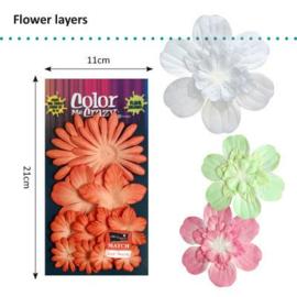 Petaloo • Flower layers aquaduct Paprika - Papieren bloemblaadjes  (12 stuks)