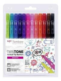Tombow TwinTone markers 12st set stralende kleuren 19-WS-PK-12P-1