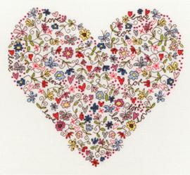 CROSS STITCH KIT LOVE - LOVE HEART - BOTHY THREADS