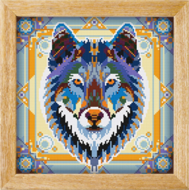 Diamond painting MANDALA Dieren WOLF (GRIJS)
