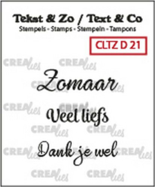 Crealies clear stamp 3 x tekst