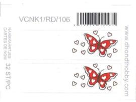 naamkaartjes set van 32 vlinders (diverse kleuren)