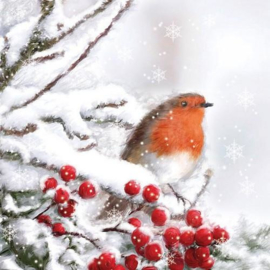 servetten 5st - Roodborstje in de sneeuw 33x33cm