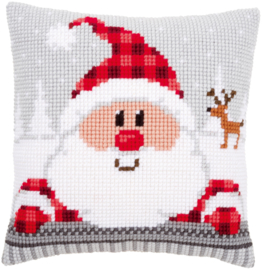 Kruissteek kussen Santa with a Plaid hat 40 x 40 cm