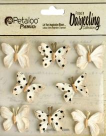 Petaloo • Mini butterflies teastained cream - Papieren vlinders  (8 stuks)