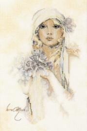 Romance - Dame met Lila Bloem (linnen)