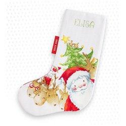 CHRISTMAS STOCKING SANTA WITH REINDEER (aida)