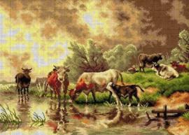 Voorbedrukt stramien After F.J. Voltz - CATTLE WATERING 50 x 70