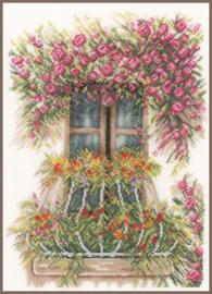 Home and Garden - Balkon met Bloemen (linnen)