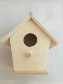 Vogelhuisje hout 11 x 9 cm rond/zonder touw
