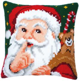 Kruissteek kussen Santa Hush! 40 x 40 cm (voorbedrukt)