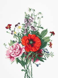 BOUQUET WITH POPPIES AND PEONIES (weefstof)