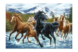 DIAMOND PAINTING HORSE HERD IN THE MOUNTAINS WD2499 100 x 68cm