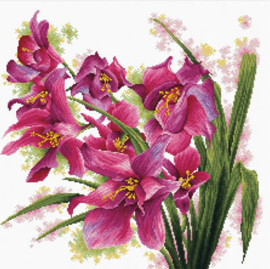VOORBEDRUKT BORDUURPAKKET LOVELY ORCHIDS - NEEDLEART WORLD