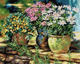 Voorbedrukt stramien Bloempotten - ORCHIDEA 40 x 50