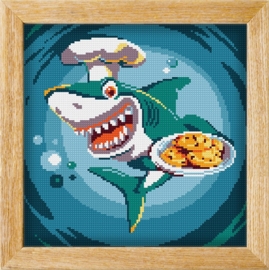 Diamond painting MANDALA FUNNY ANIMALS CHEF SHARK