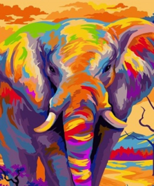Wizardi Paint-By-Numbers Colourful ELEPHANT