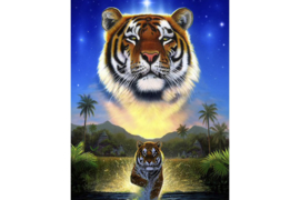 TIGER OF THE LAKE WD2411  38 x 48 cm