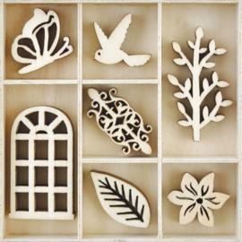 Houten ornamenten - SECRET GARDEN - 35 stuks