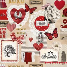 Ambiënte servetten 5st - Love ticket 33x33cm