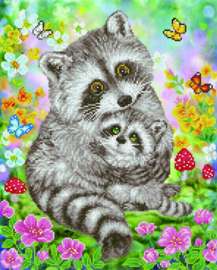 DIAMOND DOTZ SWEET RACOONS - NEEDLEART WORLD