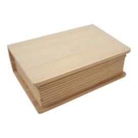 Houten kist boekvorm groot 35,4 cm x 25,5 cm x 9,7 cm