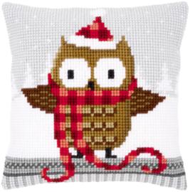 Kruissteek kussen Owl with Santa hat 40 x 40 cm (voorbedrukt)