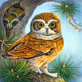 DIAMOND PAINTING OWL AND OWLETS WD2494 38 x 38cm