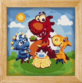 Diamond painting MANDALA FUNNY ANIMALS DINO TEA PARTY