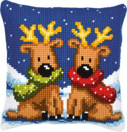 Kruissteek kussen Reindeer twins 40 x 40 cm (voorbedrukt)