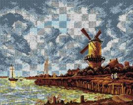 Voorbedrukt stramien after Jacob van Ruisdael - The Windmill at Wijk bij Duurstede - ORCHIDEA 40 x 50