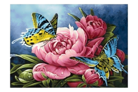 DIAMOND PAINTING BUTTERFLIES AND PEONIES WD2493  27 x 38 cm