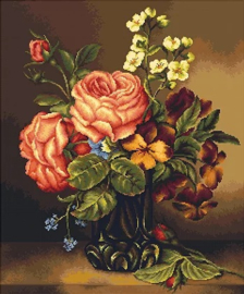 VASE OF ROSES AND FLOWERS (petit point)